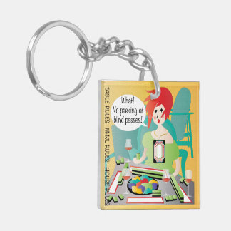 Mah Jongg Sayings Peek Pass Double-Sided Square Acrylic Keychain