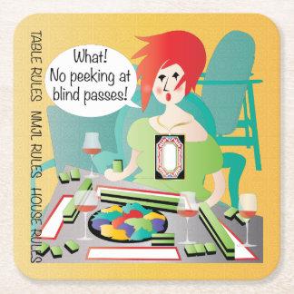 Mah Jongg Sayings Peek Pass Square Paper Coaster