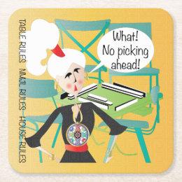 Mah Jongg Sayings Picking Ahead Square Paper Coaster