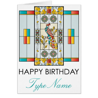 Mah Jongg Stained Glass Brights Birthday Card