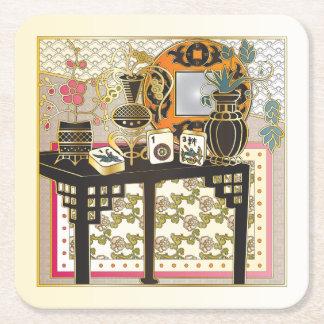 Mah Jongg Table Square Paper Coaster