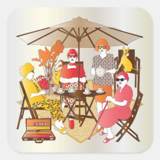 Mah Jongg Tea Party Square Sticker