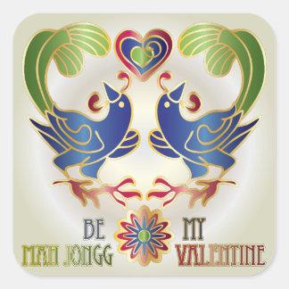 Mah Jongg Valentine Be My MJ Valentine Square Sticker