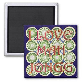 Mah Jongg Valentine I Love MJ 2 Inch Square Magnet