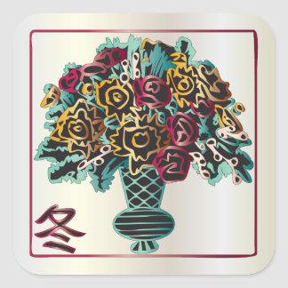 Mah Jongg Winter Vase Square Sticker