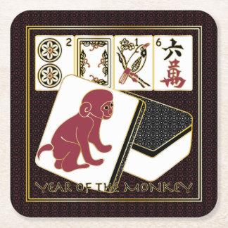 Mah Jongg Year of the Monkey Square Paper Coaster