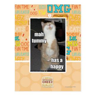 Mah tummy has a happy post cards