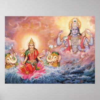 Maha Vishnu y poster de Lakshmi