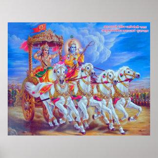 Mahabharat - señor Krishna y Arjun Póster