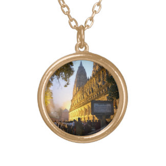 Mahabodhi Buddhist Temple Bodh Gaya India Gold Plated Necklace
