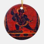 Mahakala, 12th century Double-Sided ceramic round christmas ornament