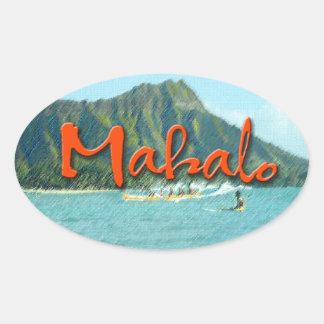 Mahalo Diamond Head Oval Sticker
