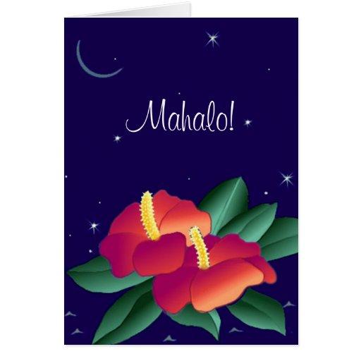 Mahalo Hawaiian Hawaii Nights Thank You Note Card