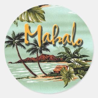 Mahalo Hawaiian Island Round Sticker