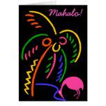 Mahalo Thank You Card Hawaiian night Flamingo palm