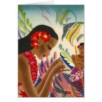 Mahalo Thank You Card Hawaiian Tropical Fish Lei