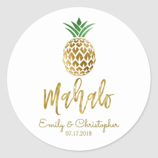 Mahalo Tropical Hawaiian Pineapple Wedding White Classic Round Sticker