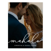 Mahalo   Wedding Photo Thank You Postcard