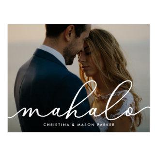 Mahalo | Wedding Photo Thank You Postcard