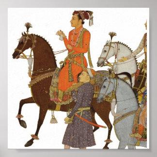 Maharaja on Horseback, Indian Mughal Illustration Poster