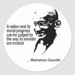 Mahatma Gandhi Animal Rights Classic Round Sticker