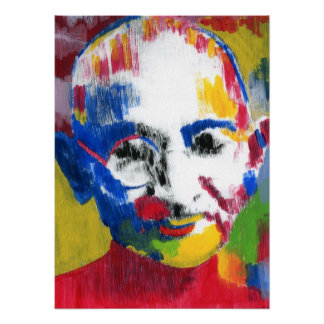 Mahatma Gandhi artwork face of colors Posters