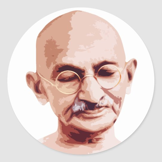 Mahatma Gandhi Father of India Classic Round Sticker