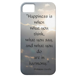 Mahatma Gandhi on Happiness, sun through clouds iPhone 5 Cover