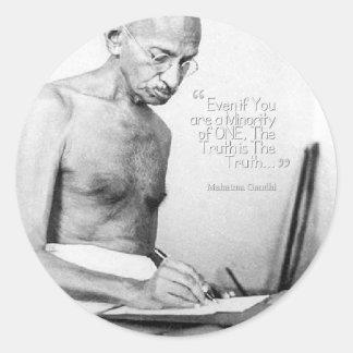 Mahatma Gandhi Quote, Minority of One, Truth Classic Round Sticker