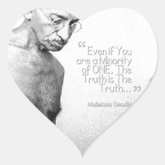 Mahatma Gandhi Quote, Minority of One, Truth Heart Sticker