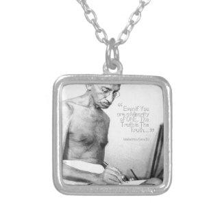Mahatma Gandhi Quote, Minority of One, Truth Square Pendant Necklace