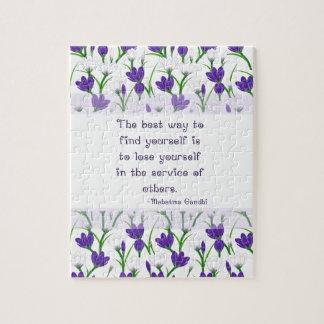 Mahatma Gandhi Quote- Spring Crocus Flowers Puzzle