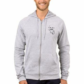 Mahatma Gandhi Zip Front Hooded Fleece Sweatshirt