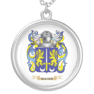 Maher Coat of Arms (Family Crest) Silver Plated Necklace
