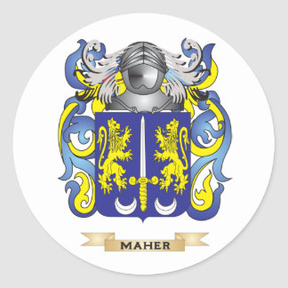 Maher Coat of Arms Family Crest Round Stickers