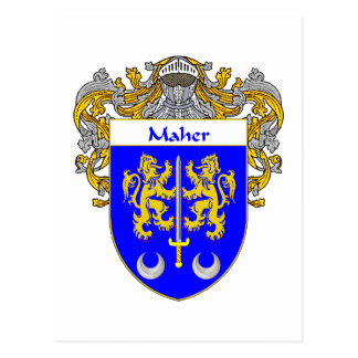 Maher Coat of Arms (Mantled) Postcard