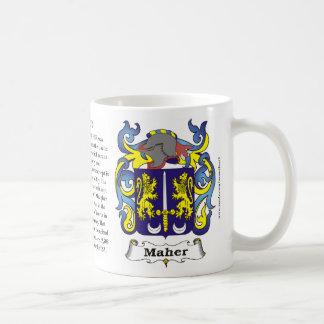 Maher, origen, significado y el escudo en una taza