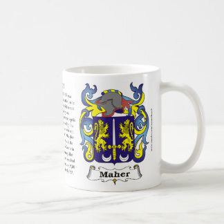 Maher Origin Meaning and the Crest on a mug