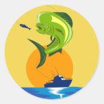 Mahi-mahi de los pescados del delfín de Dorado Pegatinas Redondas