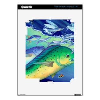 Mahi Mahi (Dolphin Fish) chasing Flying Fish Decals For iPad 3