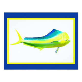 Mahi Mahi saltwater fishing graphic 4.25x5.5 Paper Invitation Card