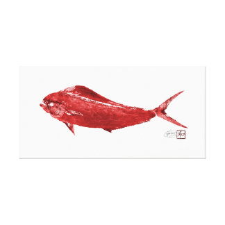 Mahi Mahi Wowee en rojo Impresión En Lona Estirada