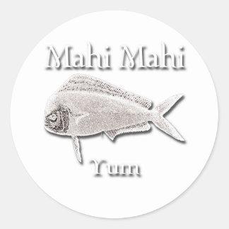 Mahi Mahi Yum Dark Round Stickers