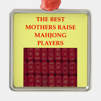 mahjong adorno navideño cuadrado de metal