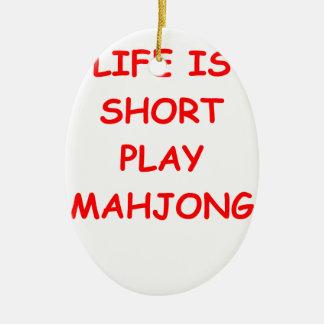 mahjong adorno navideño ovalado de cerámica