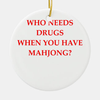 mahjong adorno navideño redondo de cerámica