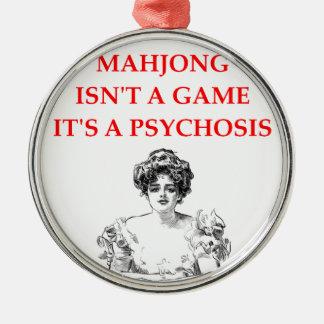 mahjong adorno navideño redondo de metal