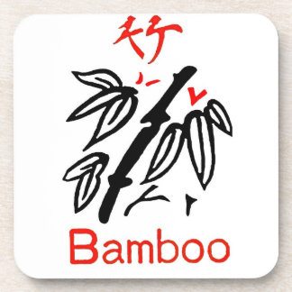 Mahjong Bamboo Suit, Red and Black on White Coaster