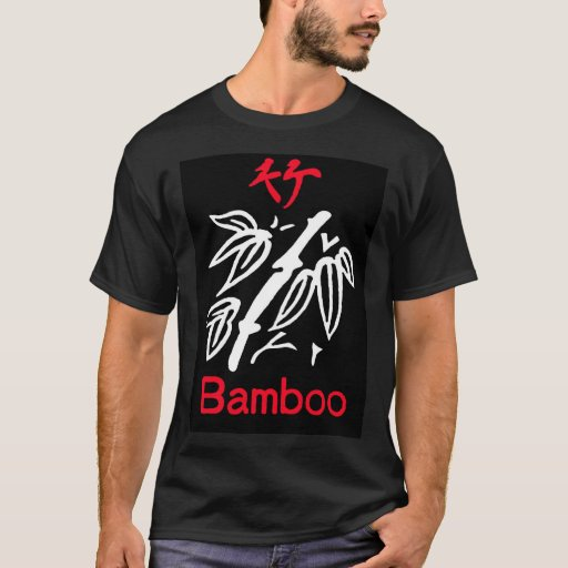 Mahjong Bamboo Suit, Red and White on Black T-Shirt