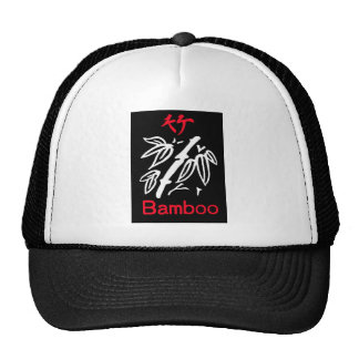 Mahjong Bamboo Suit, Red and White on Black Trucker Hat